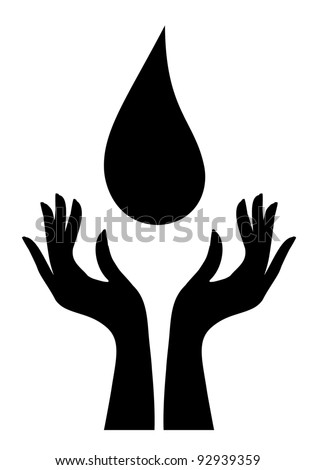 Silhouette of water-drop and hands - stock vector