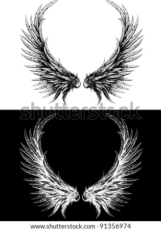 Silhouette of wings made like ink drawing. Black on white and white on a black background