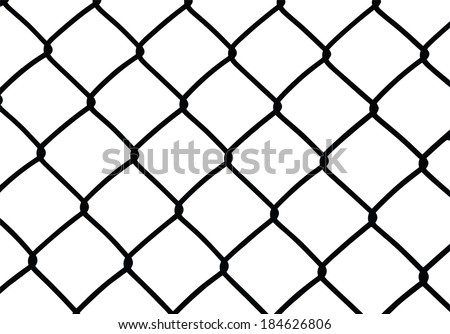 Silhouette of wired fence isolated on white, vector illustration - stock vector