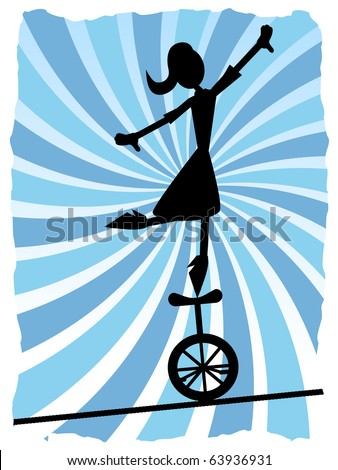 Silhouette of Woman balancing on unicycle on rope, vector illustration - stock vector