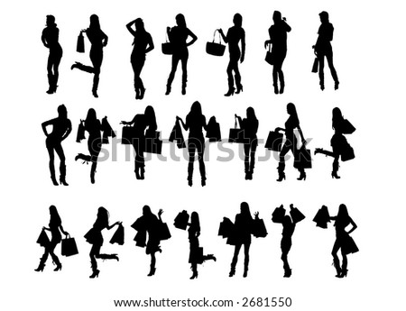 Silhouette of woman, shopping and attractive pose.