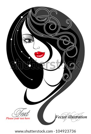 Silhouette of woman with long hair and an abstract pattern - stock vector