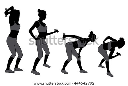 silhouette of woman working out with dumbbells. Girl doing fitness exercises with weights for muscles of arms. Vector illustration.