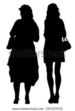 Silhouette of young girls on white background - stock vector