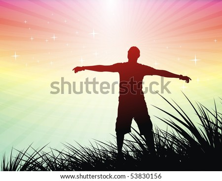 silhouette of young man raising his hands , vector illustration