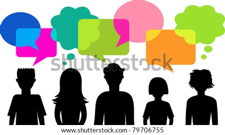 silhouette of young people with speech bubbles - stock vector