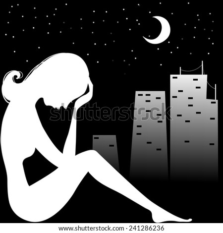 Silhouette of young sad woman sitting near window in the night, vector, eps10 - stock vector