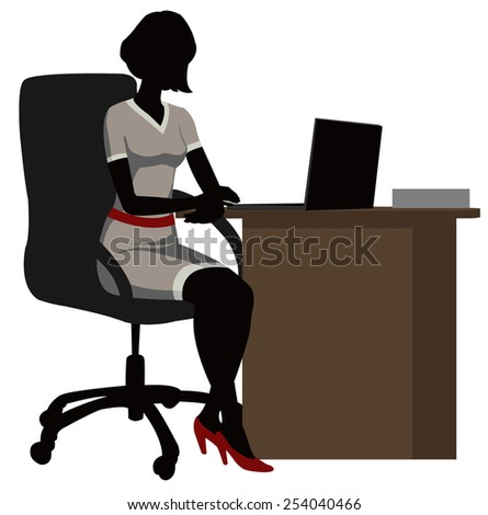 silhouette office woman behind a Desk with a laptop - stock vector
