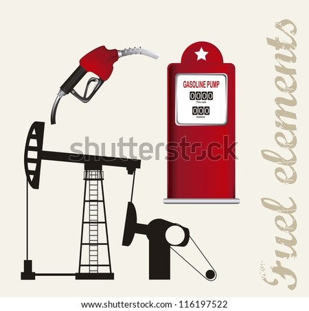 silhouette oil pump with fuel station. vector illustration - stock vector