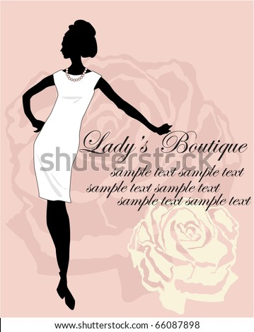 silhouette on a rose background - stock vector