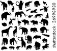 Silhouette outline of prehistoric animals - stock vector