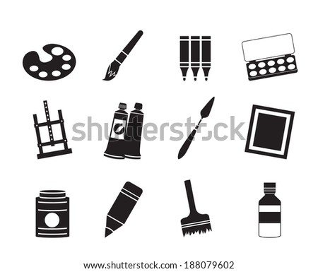Silhouette painter, drawing and painting icons -  vector icon set - stock vector