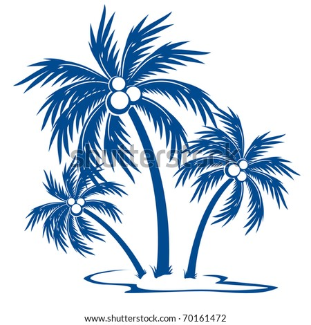 Silhouette Palm trees with coconuts. One-colour vector symbol on white.