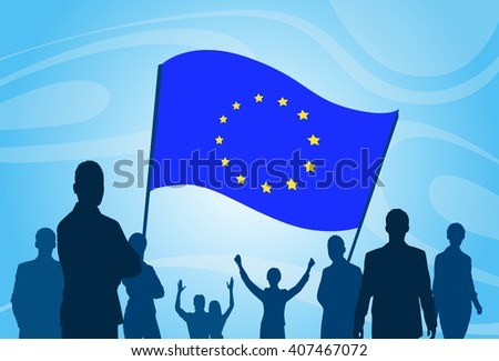 Silhouette People Crowd Protest Hold European Union Flag Vector Illustration - stock vector