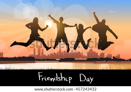 Silhouette People Group Jumping Over City Background Friendship Day Banner Flat Vector Illustration