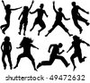 silhouette people jumping - stock vector