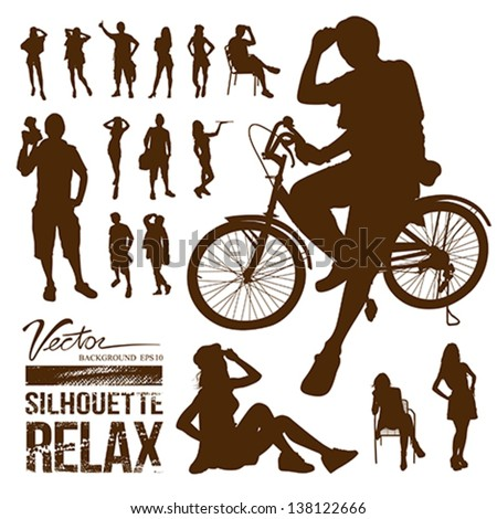Silhouette people relax background, vector illustration - stock vector