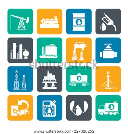 Silhouette Petrol and oil industry icons - vector icon set - stock vector