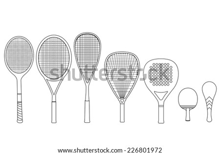 Silhouette rackets, with tennis racket, squash racket, ping pong racket, paddle racket. Vector illustration set. - stock vector