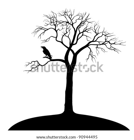 silhouette ravens on tree isolated - stock vector
