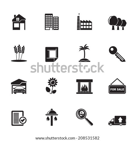 Silhouette Real Estate and building icons - Vector Icon Set - stock vector