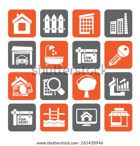 Silhouette Real Estate Icons - Vector Icon Set - stock vector