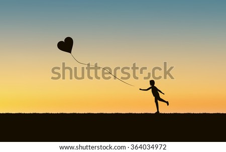 Silhouette running boy with floating heart balloon and sunset landscape background (vector) - stock vector