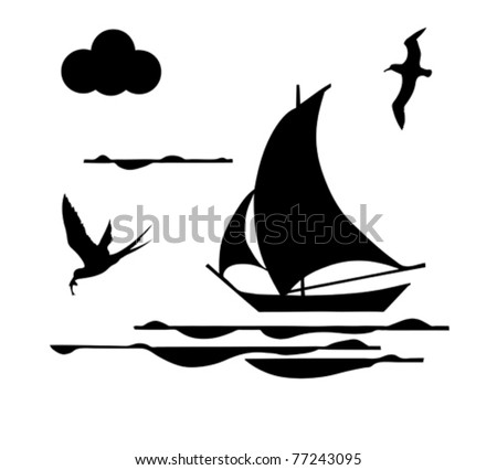 silhouette sailfish on white background - stock vector