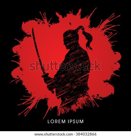 Silhouette Samurai, Ready to fight designed on splash blood background graphic vector - stock vector