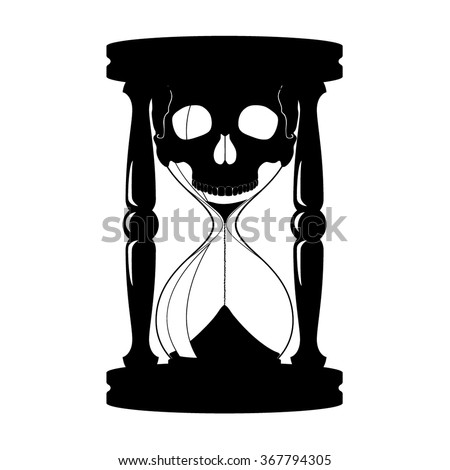 Silhouette Sand Glass Skull Death Concept Stock Vector