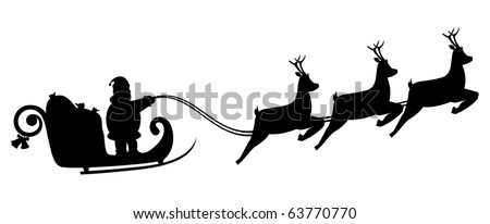Silhouette Santa Claus fly in a sleigh. Design for Your Christmas, New Year concept - stock vector