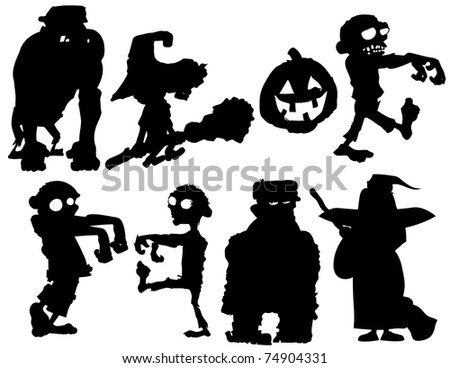 Silhouette set of Halloween characters isolated on white - stock vector
