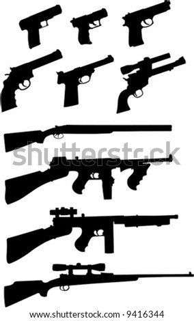 Silhouette set of various firearms. - stock vector