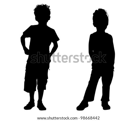 Silhouette small friends - stock vector