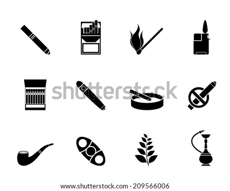 Silhouette Smoking and cigarette icons - vector icon set - stock vector