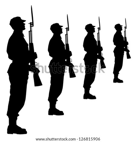 Silhouette soldiers during a military parade. Vector illustration. - stock vector