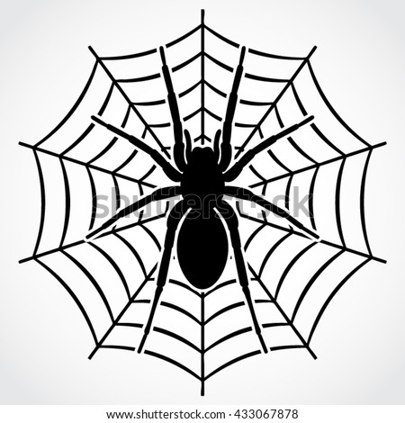 silhouette spider on web vector illustration stock vector 433067878 rh shutterstock com spider web vector art spider web vector art