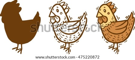 silhouette spot and line hen