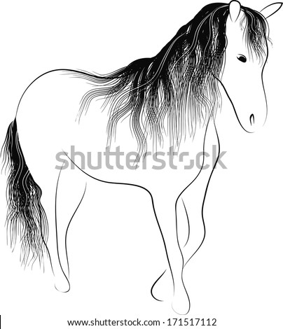 Silhouette standing horse  - stock vector