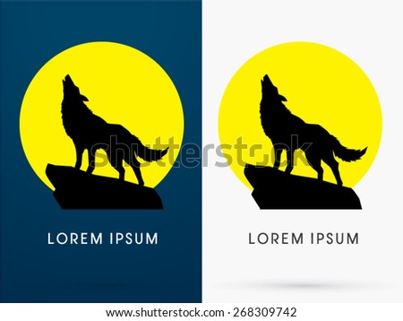 Silhouette Standing Howling wolf with moon light, sign ,logo, symbol, icon, graphic, vector. - stock vector