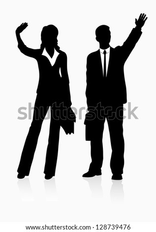silhouette  successful businessman - stock vector