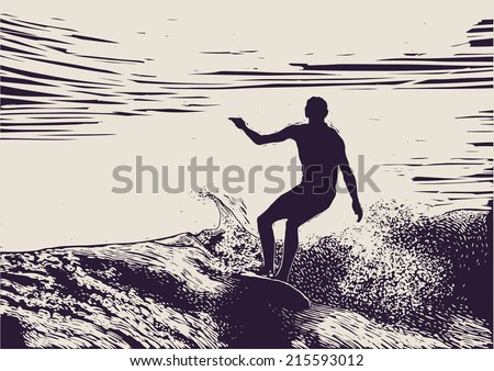 Silhouette surfer and big wave. engraving style. vector illustration.  - stock vector