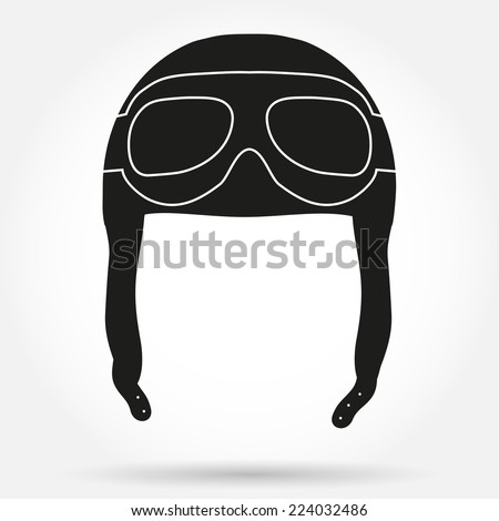 Silhouette symbol of Retro aviator pilot leather helmet with goggles. Simple Vector illustration Isolated on white - stock vector