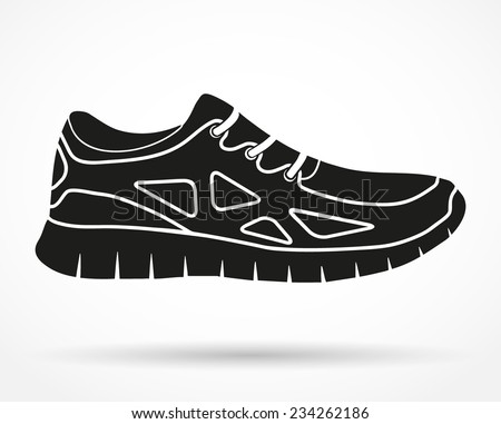 Silhouette symbol of Shoes running and fitness sneakers. Original design. Vector illustration isolated on white background. - stock vector