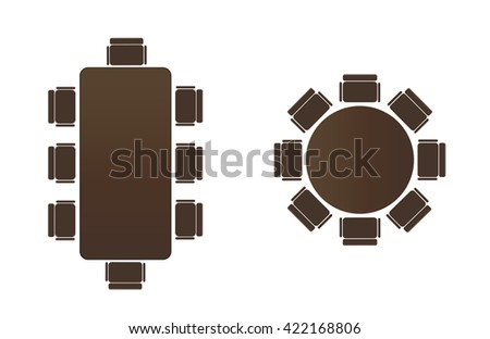 Silhouette table for business meetings. Round Table icon. Icon of a rectangular table. - stock vector