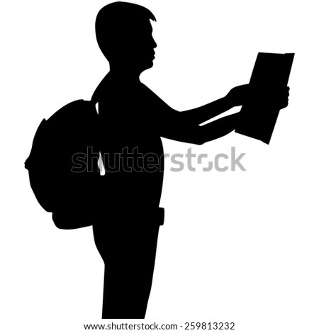 Silhouette tourist looking at guide map isolated on white background