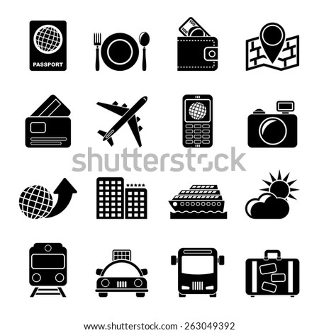 Silhouette travel, transportation and vacation icons - vector icon set - stock vector