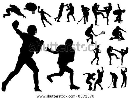 Silhouette vector illustration of several sportsmen - stock vector