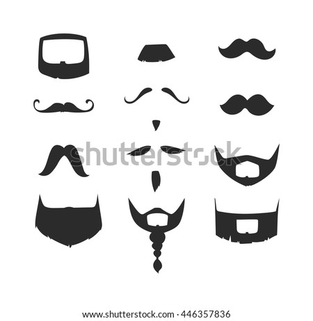 Silhouette vector mustache. Mustache black hair and man mustache hipster. Mustache retro curly black silhouette collection beard mustache. Mustache barber silhouette hairstyle - stock vector