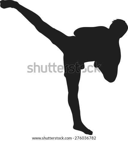 Silhouette vector of a kickboxer or muay thai fighter - stock vector